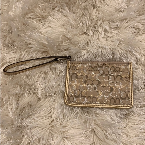 Coach card holder in gold and silver